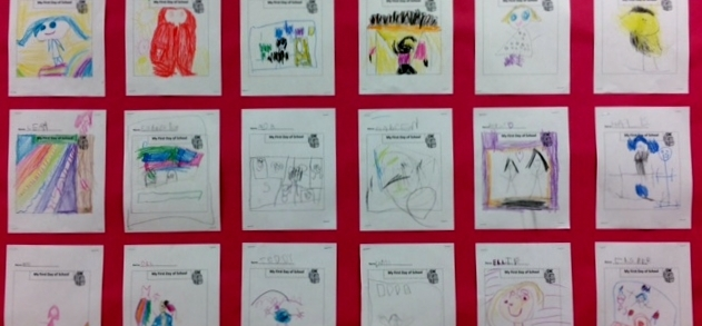 ps8 student artwork on a bulletin board